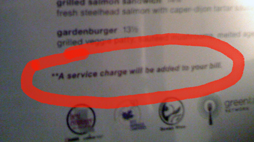 the fine print on menu for the undisclosed amount of gratuity
