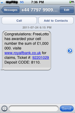 screen shot of cell phone lottery text scam message from royalfbank.co.uk